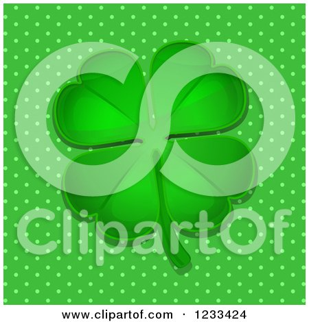 Clipart Of A Reflective Green Four Leaf Clover Over Polka Dots Royalty Free Vector Illustration