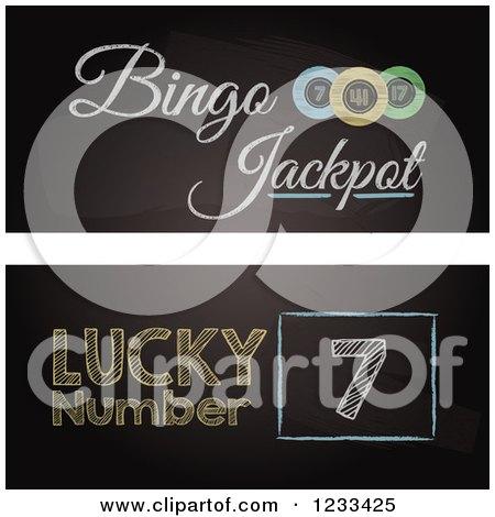 Clipart of Bingo Blackboard Website Banners - Royalty Free Vector Illustration by elaineitalia