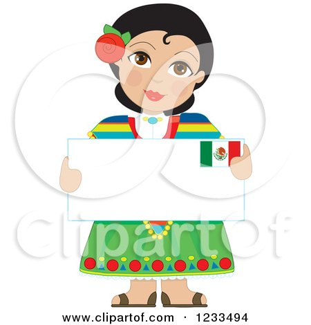 Traditionally Dressed Mexican Girl Holding a Sign Posters, Art Prints
