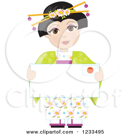 Clipart of a Traditionally Dressed Japanese Girl Holding an Envelope or Sign - Royalty Free Vector Illustration by Maria Bell