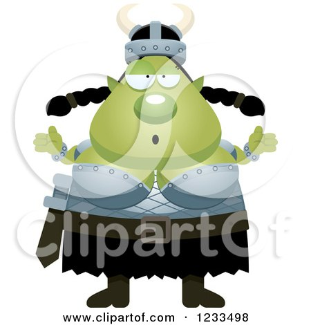 Clipart of a Careless Shrugging Female Orc - Royalty Free Vector Illustration by Cory Thoman