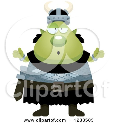 Clipart of a Careless Shrugging Male Orc - Royalty Free Vector Illustration by Cory Thoman