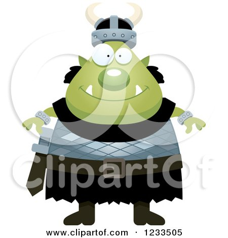 Clipart of a Happy Male Orc - Royalty Free Vector Illustration by Cory Thoman