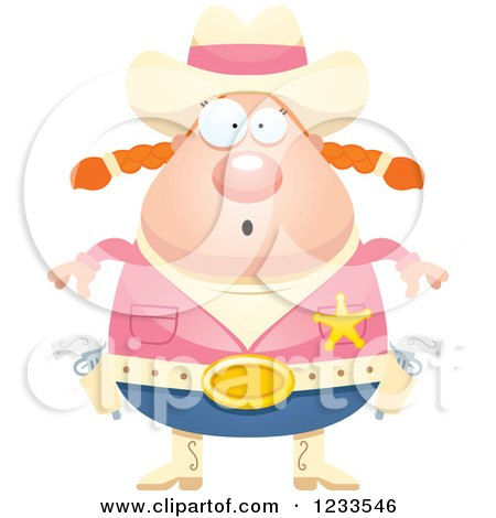 Clipart of a Surprised Gasping Sheriff Cowgirl - Royalty Free Vector Illustration by Cory Thoman
