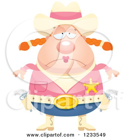 Clipart of a Depressed Sheriff Cowgirl - Royalty Free Vector Illustration by Cory Thoman
