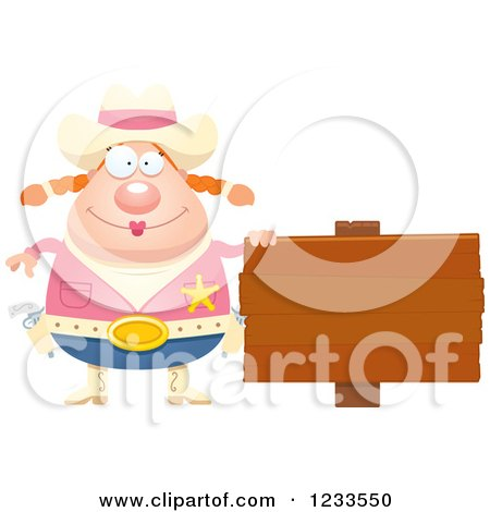 Clipart of a Happy Sheriff Cowgirl with a Wood Sign - Royalty Free Vector Illustration by Cory Thoman