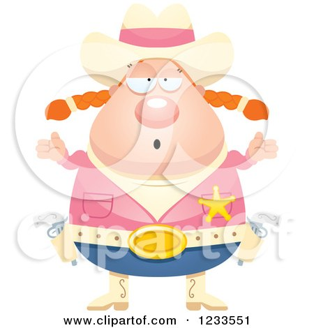 Clipart of a Careless Shrugging Sheriff Cowgirl - Royalty Free Vector Illustration by Cory Thoman