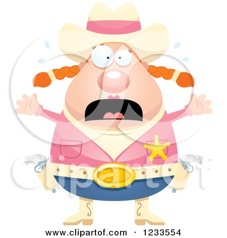 Clipart of a Scared Screaming Sheriff Cowgirl - Royalty Free Vector Illustration by Cory Thoman