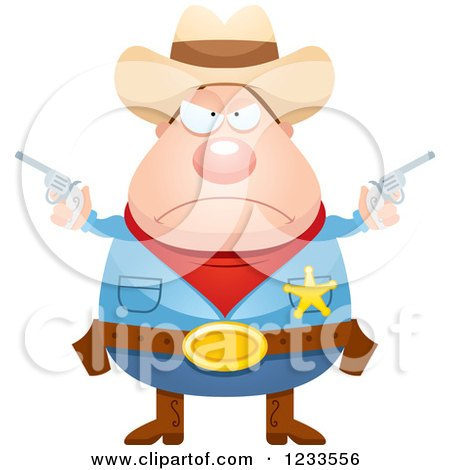 Clipart Of A Mad Sheriff Cowboy With Pistols Royalty Free Vector Illustration