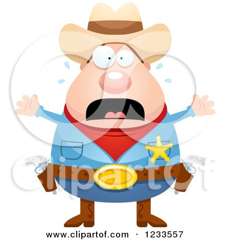 Clipart of a Scared Screaming Sheriff Cowboy - Royalty Free Vector Illustration by Cory Thoman