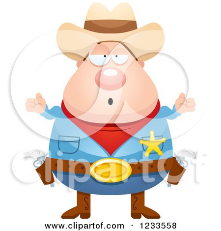Clipart of a Careless Shrugging Sheriff Cowboy - Royalty Free Vector Illustration by Cory Thoman