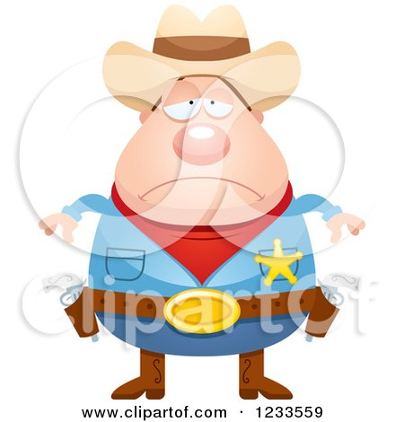 Clipart of a Depressed Sheriff Cowboy - Royalty Free Vector Illustration by Cory Thoman