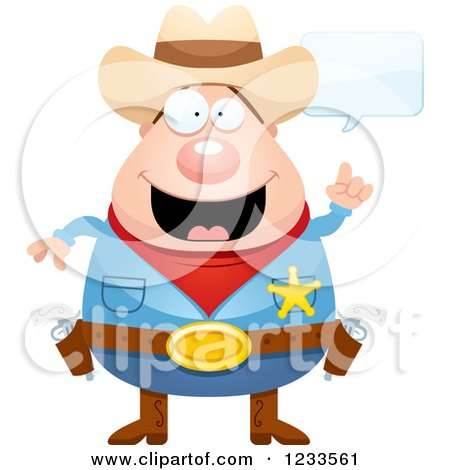 Clipart of a Happy Talking Sheriff Cowboy - Royalty Free Vector Illustration by Cory Thoman