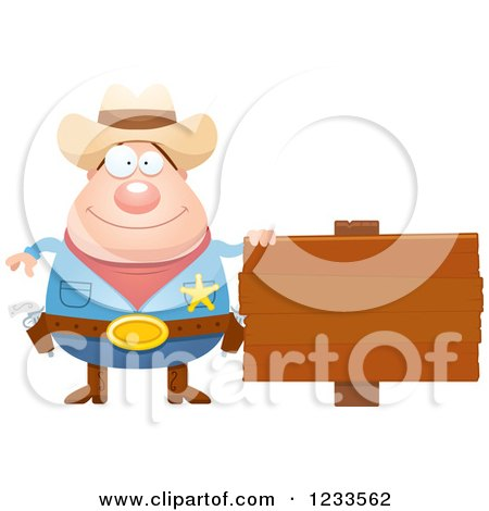 Clipart of a Happy Sheriff Cowboy with a Wood Sign - Royalty Free Vector Illustration by Cory Thoman