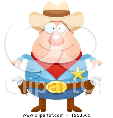 Clipart of a Happy Sheriff Cowboy - Royalty Free Vector Illustration by Cory Thoman