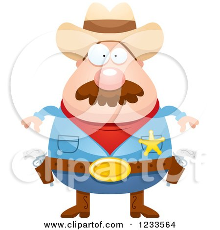 Clipart of a Sheriff Cowboy with a Mustache - Royalty Free Vector Illustration by Cory Thoman