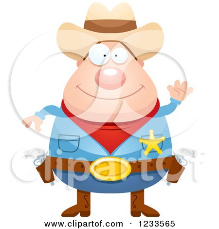 Clipart of a Friendly Waving Sheriff Cowboy - Royalty Free Vector Illustration by Cory Thoman