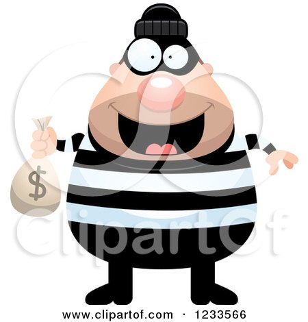 Clipart of a Happy Robber Burglar Guy with a Money Sack - Royalty Free Vector Illustration by Cory Thoman