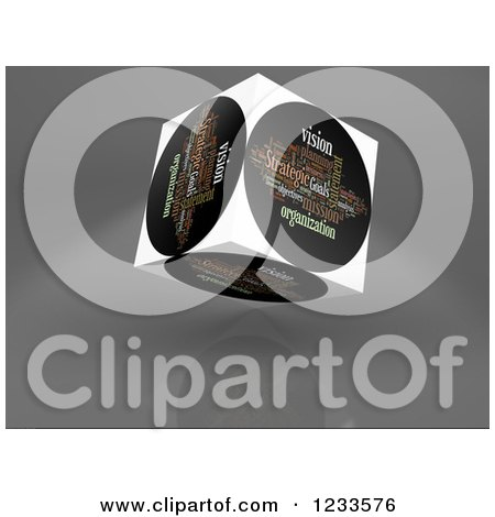 Clipart of a 3d Floating Strategic Vision Word Collage Box Cube on White - Royalty Free CGI Illustration by MacX