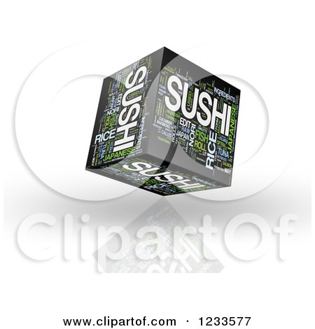 Clipart of a 3d Floating Sushi Word Collage Box Cube on White - Royalty Free CGI Illustration by MacX