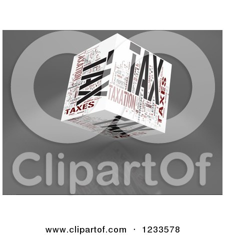 Clipart of a 3d Floating Tax Word Collage Box Cube on White - Royalty Free CGI Illustration by MacX