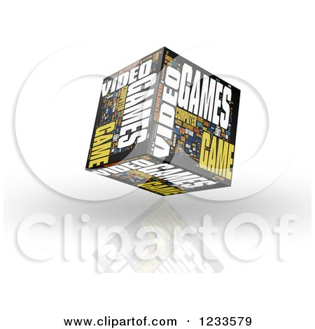 Clipart of a 3d Floating Video Games Word Collage Box Cube on White - Royalty Free CGI Illustration by MacX