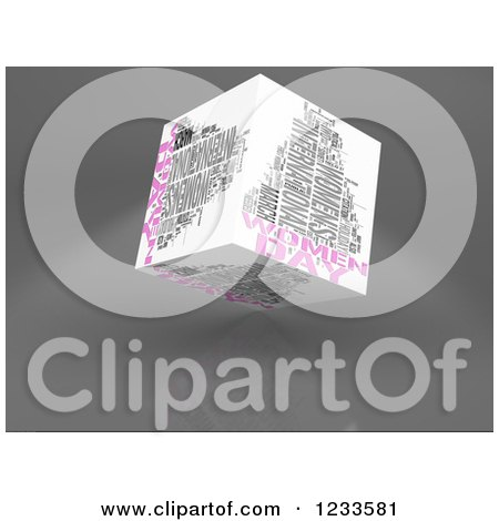 Clipart of a 3d Floating Women Day Word Collage Box Cube on White - Royalty Free CGI Illustration by MacX