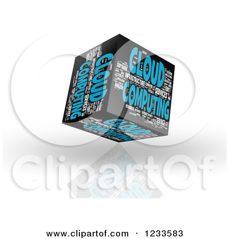 Clipart of a 3d Floating Cloud Computing Word Collage Box Cube on White - Royalty Free CGI Illustration by MacX