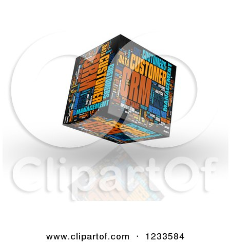 Clipart of a 3d Floating CRM Word Collage Box Cube on White - Royalty Free CGI Illustration by MacX