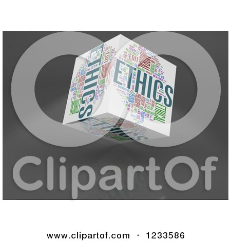 Clipart of a 3d Floating Ethics Word Collage Box Cube on White - Royalty Free CGI Illustration by MacX