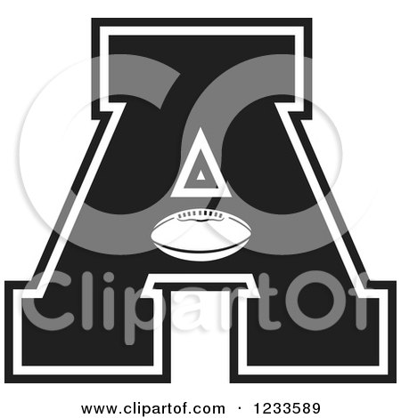Clipart of a Black and White Football Letter a - Royalty Free Vector Illustration by Johnny Sajem