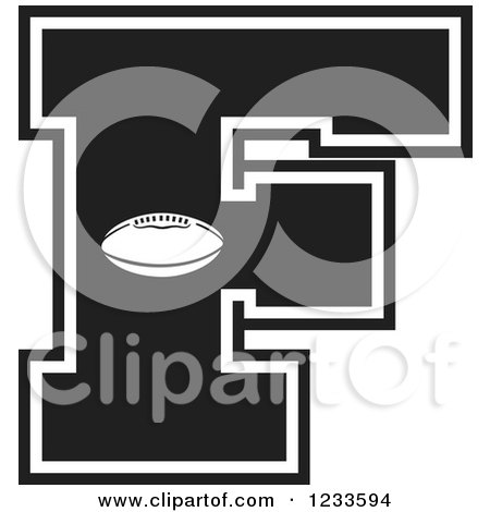 Clipart of a Black and White Football Letter F - Royalty Free Vector Illustration by Johnny Sajem