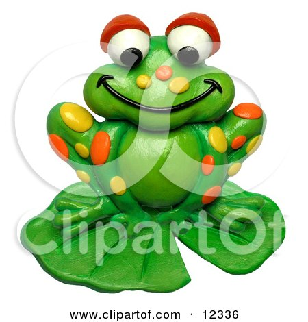 Clay Sculpture Clipart Spotted Frog On A Lily Pad - Royalty Free 3d Illustration  by Amy Vangsgard