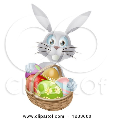 Clipart of a Gray Bunny with Easter Eggs and a Basket - Royalty Free Vector Illustration by AtStockIllustration