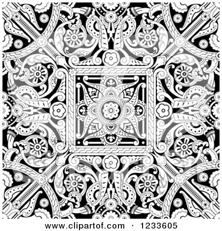 Clipart Of A Black And White Seamless Intricate Middle
