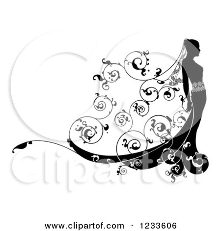 Clipart of a Black and White Bride in Profile, with Floral Swirls - Royalty Free Vector Illustration by AtStockIllustration