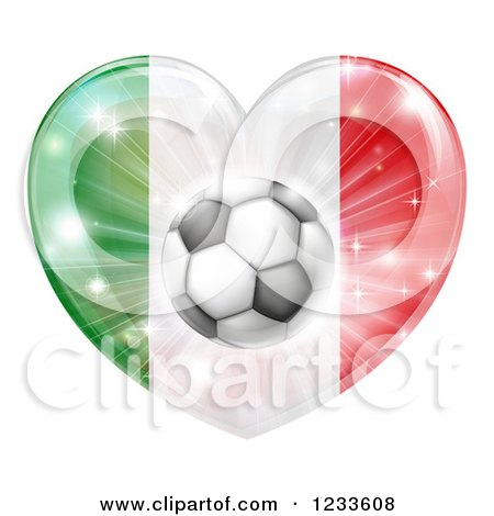 Clipart of a Reflective Italian Flag Heart and Soccer Ball - Royalty Free Vector Illustration by AtStockIllustration