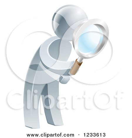 Clipart of a 3d Silver Man Searching with a Magnifying Glass - Royalty Free Vector Illustration by AtStockIllustration