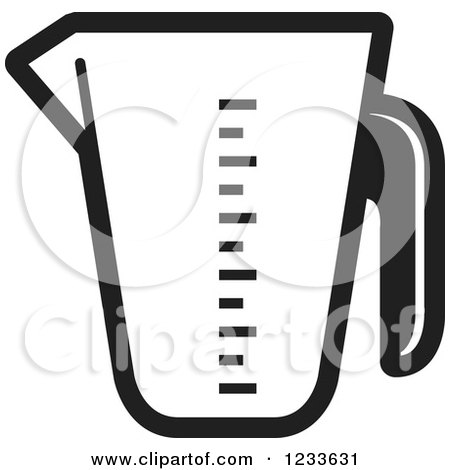 Clipart of a Black and White Measuring Cup - Royalty Free Vector Illustration by Lal Perera