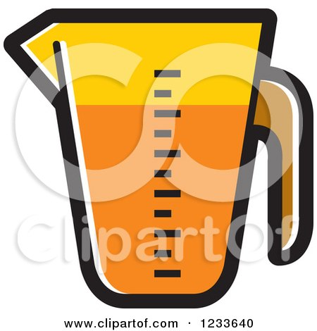 Clipart of an Orange Measuring Cup - Royalty Free Vector Illustration by Lal Perera