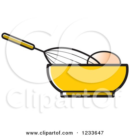 Clipart of a Whisk Egg and Yellow Bowl - Royalty Free Vector Illustration by Lal Perera