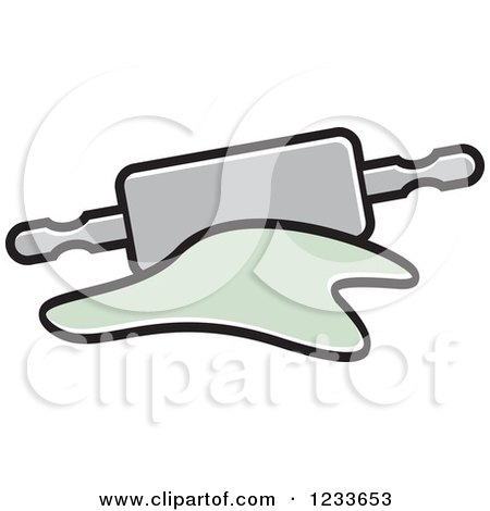 Clipart of a Gray Rolling Pin and Dough 2 - Royalty Free Vector Illustration by Lal Perera