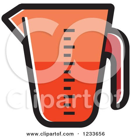 Clipart of a Red Measuring Cup - Royalty Free Vector Illustration by Lal Perera