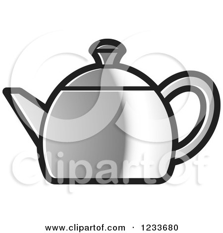Clipart of a Silver Tea Pot - Royalty Free Vector Illustration by Lal Perera