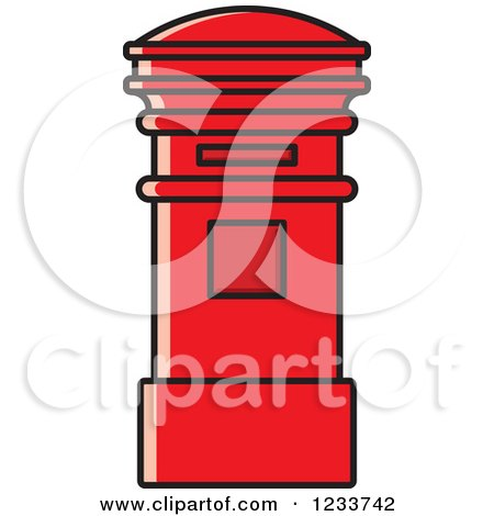 Clipart of a Red Post Box - Royalty Free Vector Illustration by Lal Perera