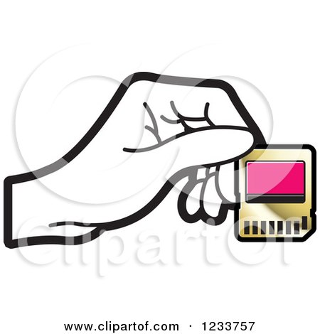 Clipart of a Hand Holding a SD Flash Card 2 - Royalty Free Vector Illustration by Lal Perera