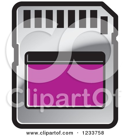Clipart of a Silver and Purple SD Flash Card - Royalty Free Vector Illustration by Lal Perera