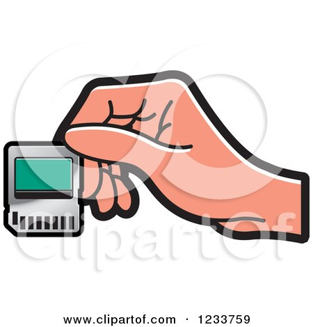 Clipart of a Hand Holding a SD Flash Card - Royalty Free Vector Illustration by Lal Perera