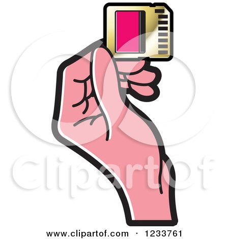 Clipart of a Hand Holding a SD Flash Card 3 - Royalty Free Vector Illustration by Lal Perera