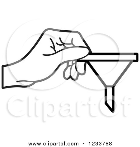 Clipart of a Black and White Hand Holding a Funnel - Royalty Free Vector Illustration by Lal Perera